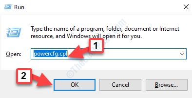Eseguire il comando Invio di Powercfg.cpl