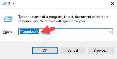 Esegui Command Search Appdata Enter