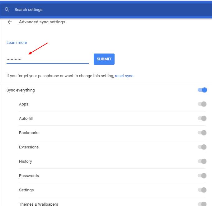 Impostazioni avanzate di sincronizzazione di Chrome