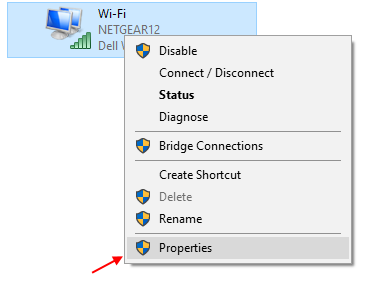 Proprietà Wi-Fi Windows 10