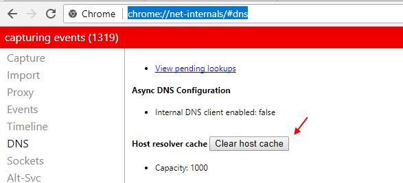 Chrome Cancella cache host