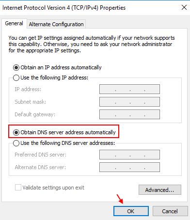Se ottieni il server DNS automaticamente, Windows 10