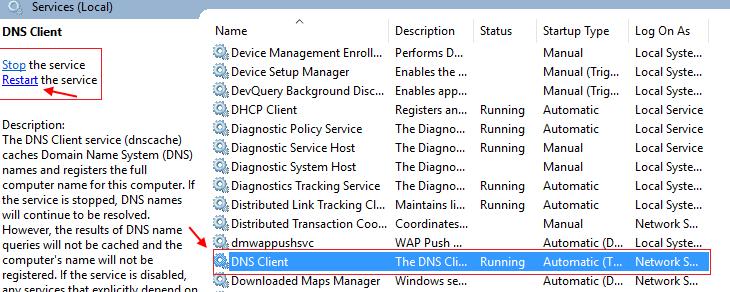 Riavvio del servizio client DNS in Windows