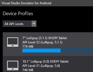 Emulatore di Visual Studio Android