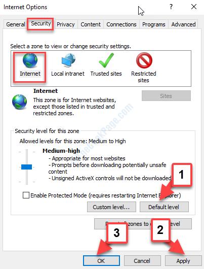 Opzioni Internet Scheda Protezione Livello Internet predefinito Applica OK