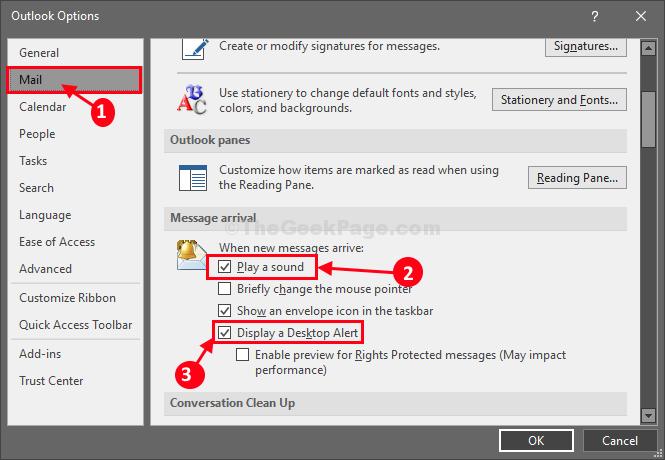 Avviso di visualizzazione della posta di Ms Outlook