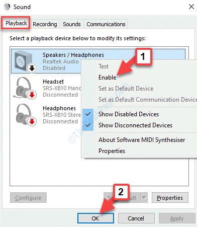 Dispositivo di riproduzione audio Fare clic con il pulsante destro del mouse su Abilita Ok