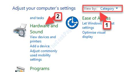 Vista del pannello di controllo per categoria Hardware e suoni