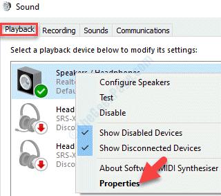 Riproduzione audio Dispositivo audio Fare clic con il pulsante destro del mouse su Proprietà