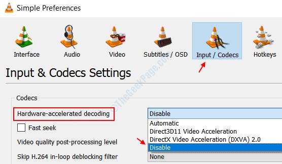 Disabilita l'accelerazione hardware Vlc