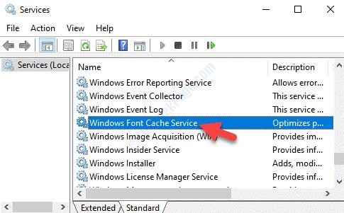 Servizi Nome Servizio cache font di Windows Fare doppio clic