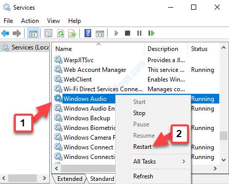 Fare clic con il pulsante destro del mouse su Windows Audio Riavvia