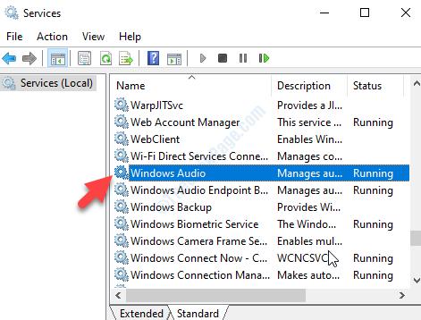 Servizi Nome lato destro Windows Audio