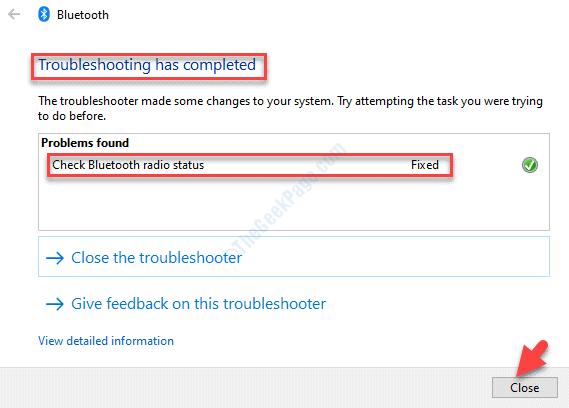 La risoluzione dei problemi Bluetooth è completa. Chiudi