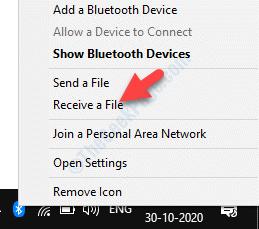 Icona Bluetooth sulla barra delle applicazioni Fare clic con il pulsante destro del mouse su Ricevi un file