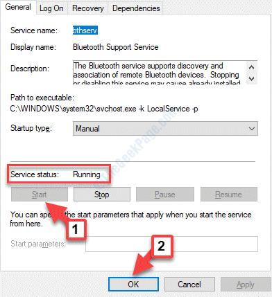 Proprietà Bluetooth Stato generale del servizio Avvia Ok