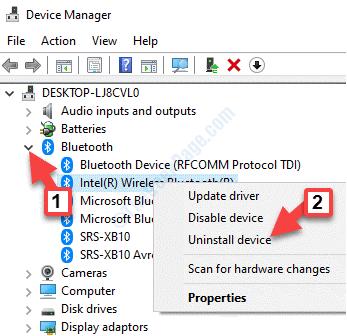 Bluetooth Device Manager Adattatore Bluetooth Fare clic con il pulsante destro del mouse su Disinstalla