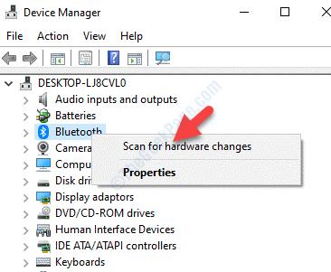 Gestione dispositivi Bluetooth Fare clic con il pulsante destro del mouse su Rileva modifiche hardware