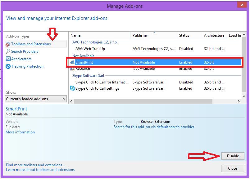 Apri il gestore dei plugin in Internet Explorer