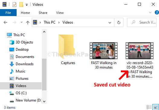 Cartella video Video tagliati salvati