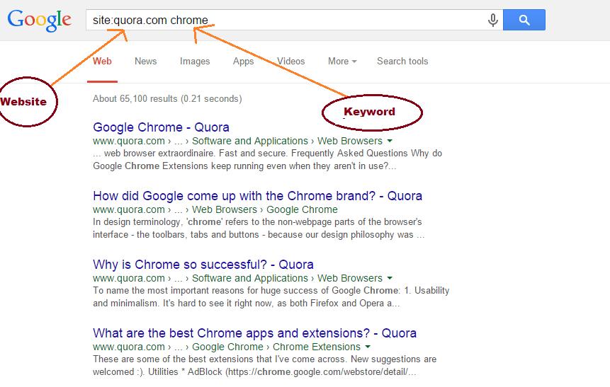 ricerca specifica per sito google