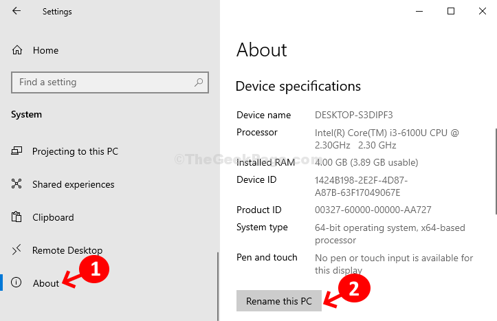 Sistema Informazioni sulle specifiche del dispositivo Rinomina questo PC