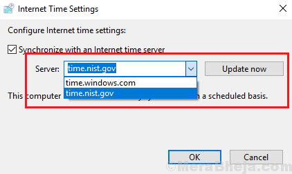 Scegli Internet Time Server