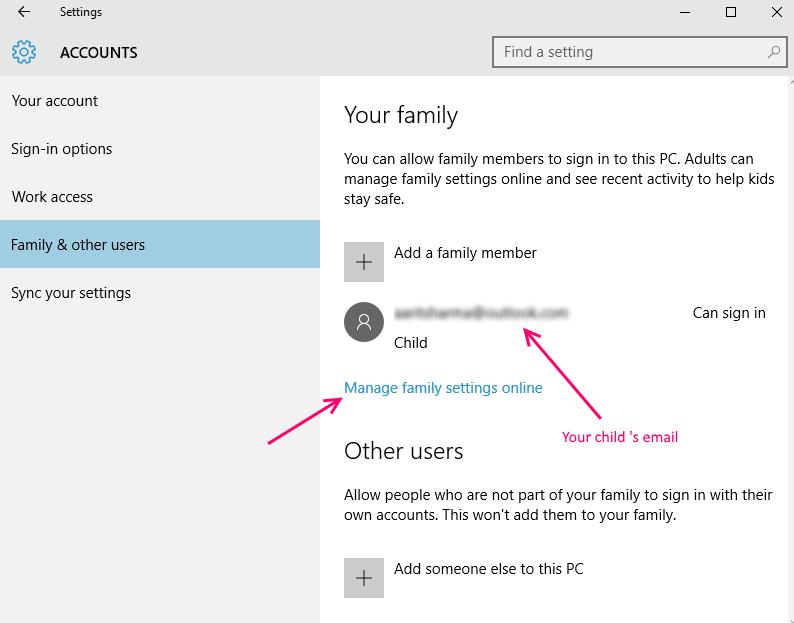 l'email del bambino