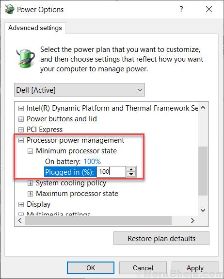 Potenza del processore Stato minimo del processore Win 10 min