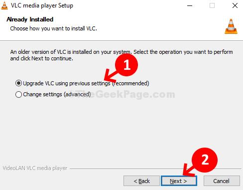 Controllare l'aggiornamento VLC utilizzando le impostazioni precedenti (consigliato) Avanti