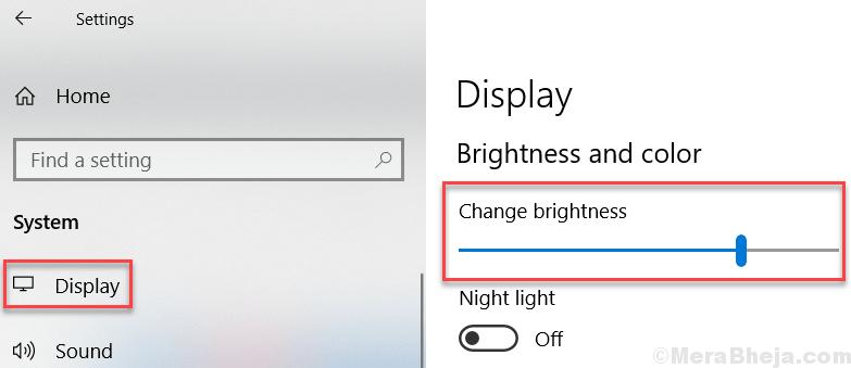Modifica le impostazioni di trascinamento della luminosità Windows 10 Min