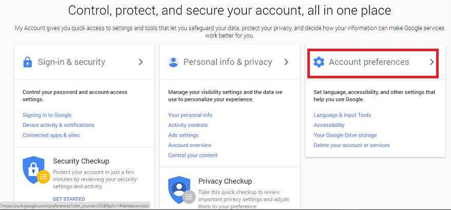 scegli la terza scheda delle preferenze dell'account