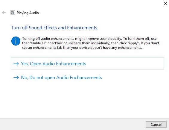 Nessuna risoluzione dei problemi audio