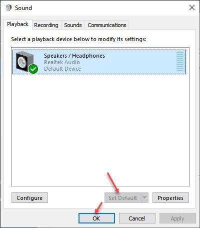 Imposta dispositivo audio predefinito