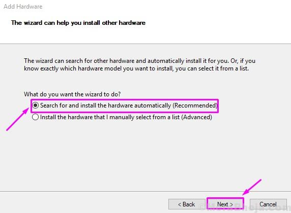 Trova e installa l'hardware automaticamente