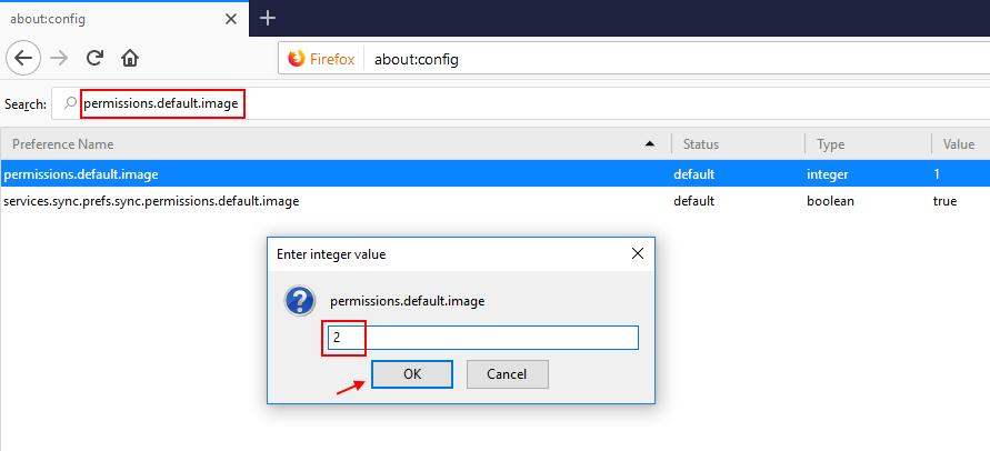 Immagini predefinite per le autorizzazioni di Firefox