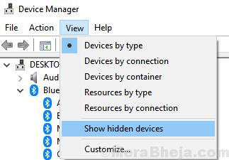 Mostra i dispositivi nascosti al minimo