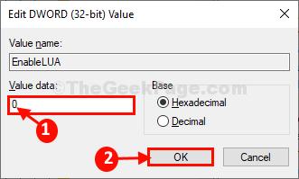 Disabilita il controllo dell'account utente