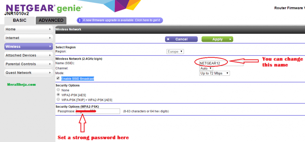 impostare la password del router
