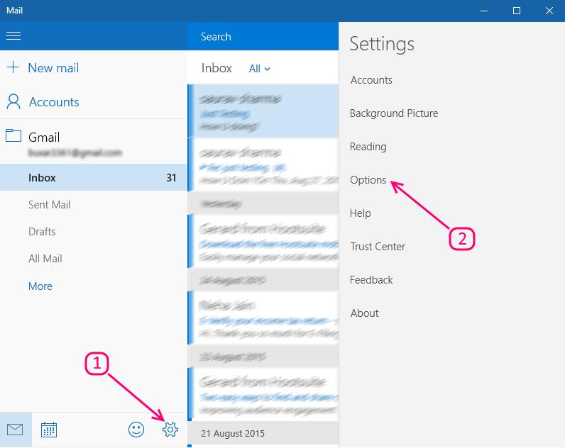 opzione di configurazione dell'app di posta