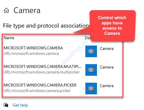Il protocollo e l'associazione del tipo di file controllano quali applicazioni hanno accesso alla telecamera
