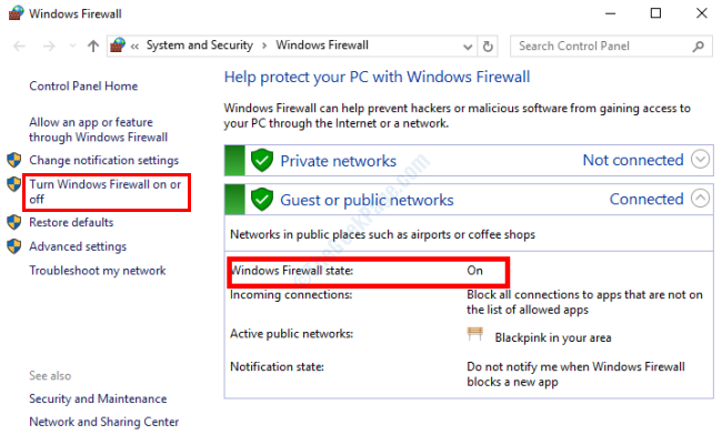 Stato del firewall