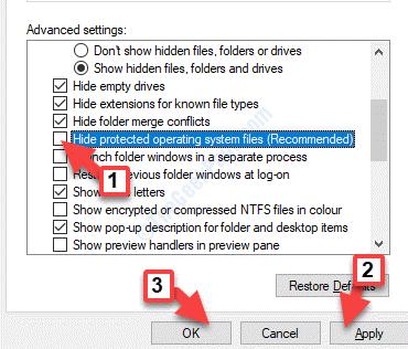 Opzioni cartella Visualizza Nascondi i file del sistema operativo protetto Deseleziona Applica OK