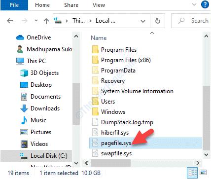 File Explorer Questa unità Pc C Pagefile.sys Elimina
