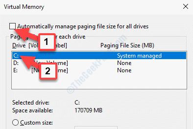 La memoria virtuale gestisce automaticamente la dimensione del file di paging per tutte le unità Deselezionare l'unità C