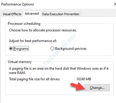 Opzioni prestazioni Spostamento memoria viruale avanzato