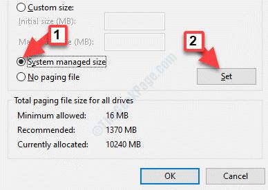 Memoria virtuale Selezionare l'unità in cui salvare il set di dimensioni gestite dal file system di paging