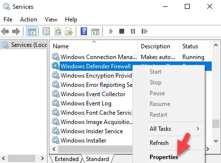 Windows Defender Firewall Fare clic con il pulsante destro del mouse su Proprietà
