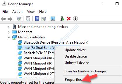 Seleziona Proprietà dell'adattatore Wifi facendo clic con il pulsante destro del mouse