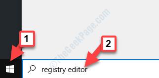 Inizia la ricerca nell'editor del registro